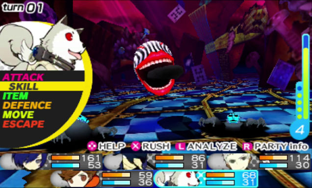 persona q is much like the etrian odyssey games a first person dungeon crawler players can choose up to five characters from the casts of persona 3 and 4