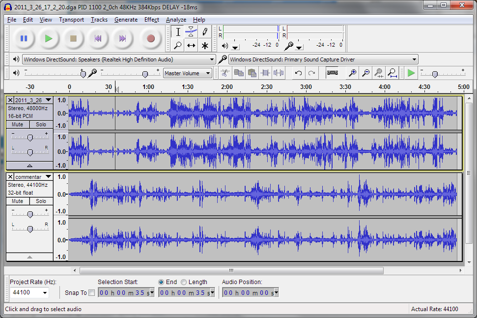 how to use audacity to compare flacs